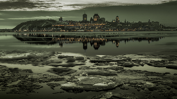 Quebec_city_winter_monochrome_16X9_DRI Photograph by Jean Surprenant