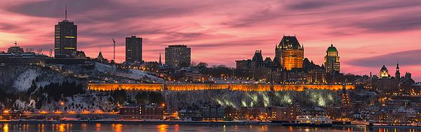 Quebec_city_winter_sunset_pano_DRI Photograph by Jean Surprenant