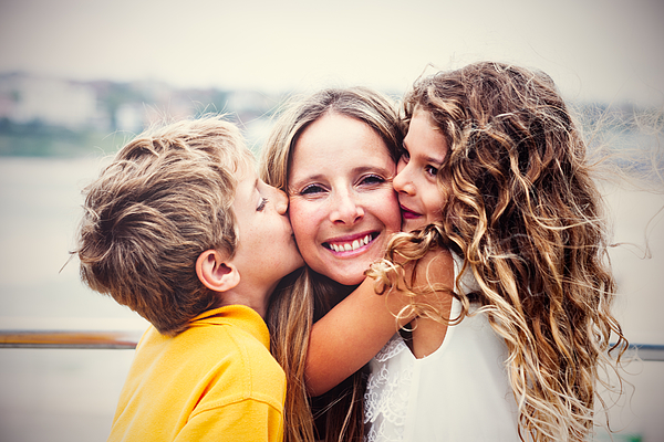 Real Happy Mother With Her Kids Photograph by LaraBelova