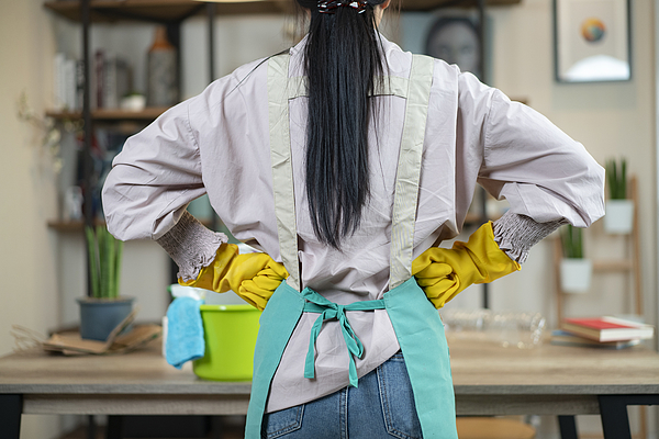 Rear Of Housewife Wear Apron Ready To Cleansing Home Photograph by Virojt Changyencham