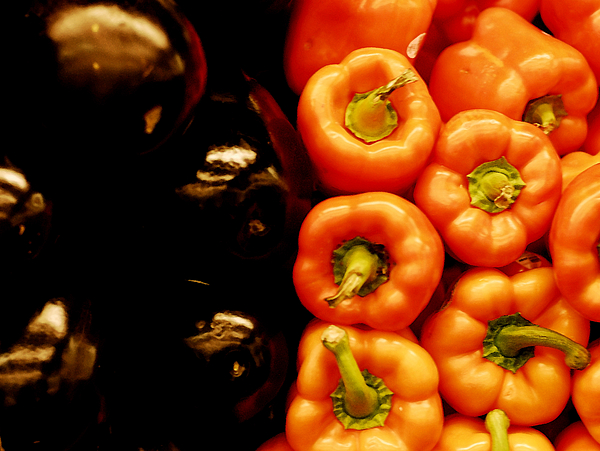 Red peppers and eggplants Photograph by Lyn Holly Coorg