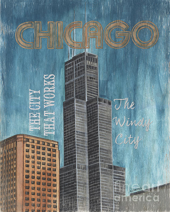 Retro Travel Poster Chicago Painting