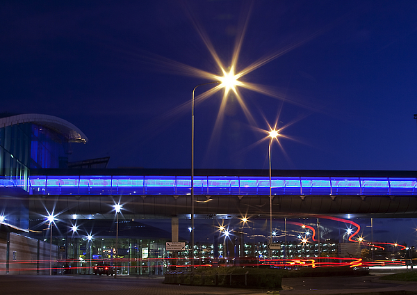 Ringway Airport Manchester at night Photograph by Peter Chadwick LRPS