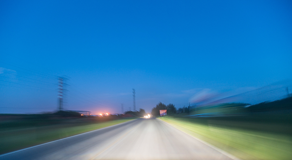 Rural in the dusk under motion blur, real car rigged Photograph by Xvision