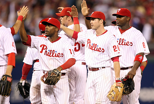 Ryan Howard, Jimmy Rollins, and Chase Utley Photograph by Jed Jacobsohn