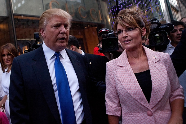 Sarah Palin Meets With Donald Trump In New York During Her Bus Tour Photograph by Andrew Burton