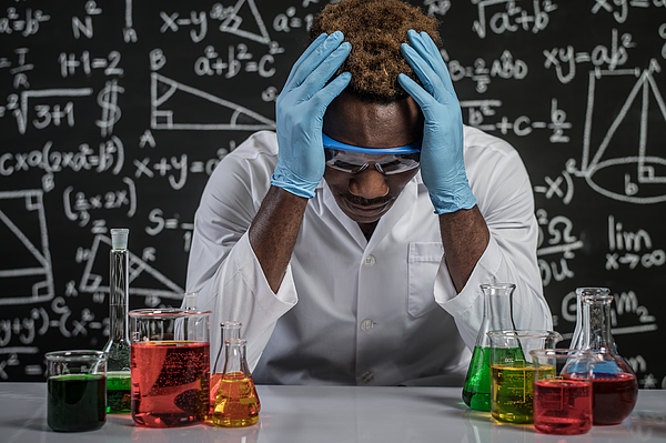 Scientists have stress in the laboratory. Photograph by Jcomp