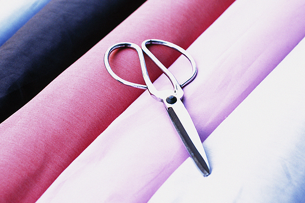 Scissors on rolls of fabric Photograph by James Hardy