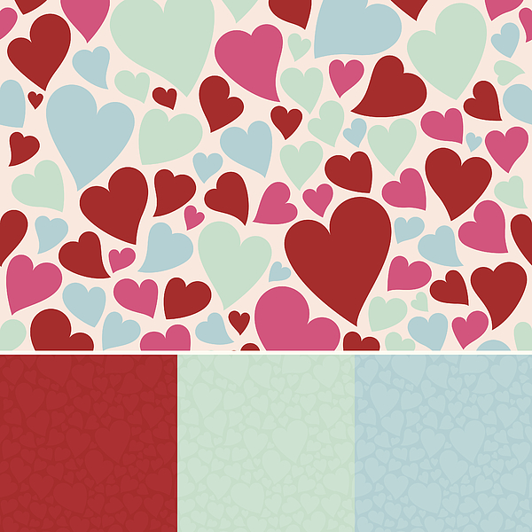 Seamless Hearts Background Drawing by Filo