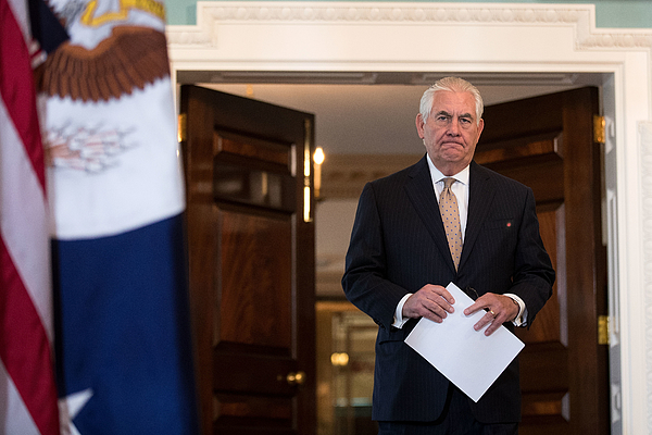 Secretary Of State Rex Tillerson Calls On Mideast Countries To Ease Blockade On Qatar Photograph by Drew Angerer