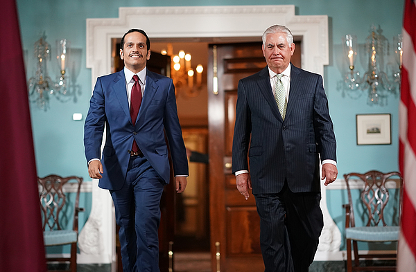 Secretary Of State Tillerson Meets With Qatari Foreign Minister Sheikh Mohammed Bin Abdulrahman Al Thani Photograph by Win McNamee