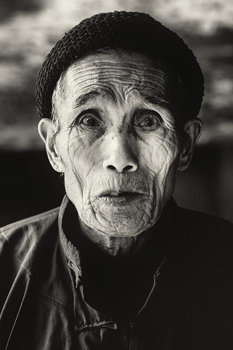Senior Chinese Man Bw Portrait Photograph by Mlenny