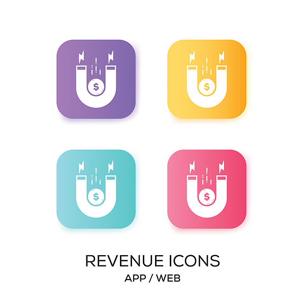 Set of Revenue App Icon Drawing by Cnythzl