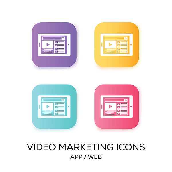Set of Video Marketing App Icon Drawing by Cnythzl