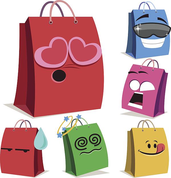 Shopping Bag Cartoon Set A Drawing by CandO_Designs