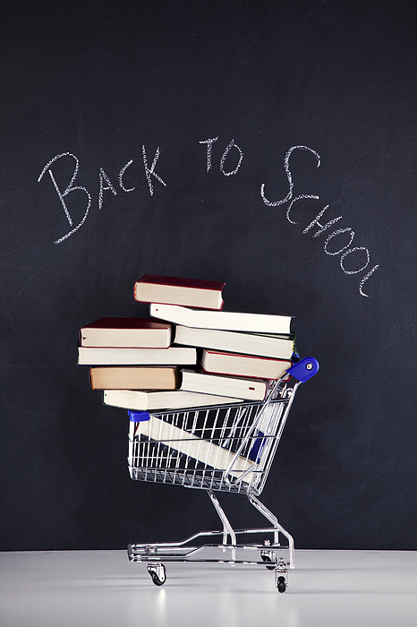 Shopping cart full of books Photograph by Nphotos