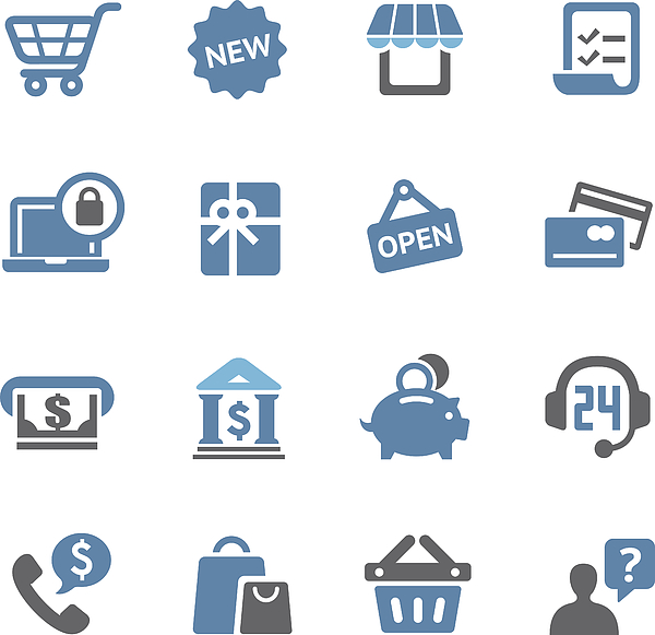 Shopping Icons Set - Conc Series Drawing by -victor-