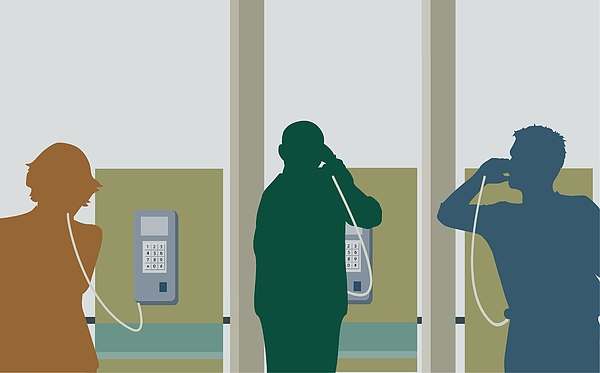 Silhouette of two young men and a young woman talking on pay phones Drawing by ArtBox Images