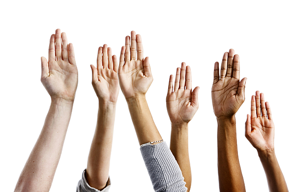 Six mixed hands raised against white background Photograph by RapidEye