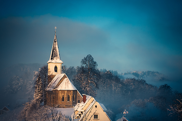 Small Church After The Snow Storm Photograph by Borchee