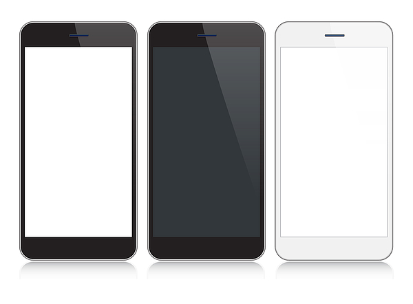 Smartphone, Mobile Phone In Black and Silver Colors With Reflection, Realistic Vector Illustration Drawing by Yuliya