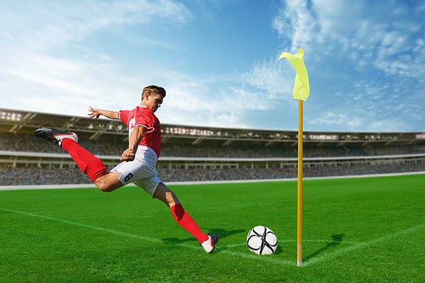 Soccer Player Taking Corner Kick Photograph by Aflo