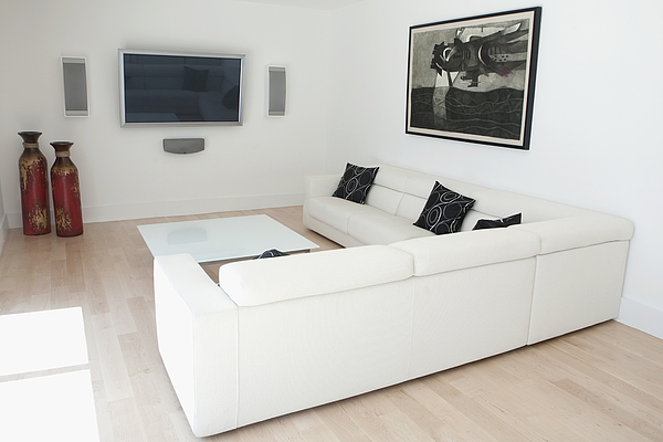 Sofas and coffee table in modern living room Photograph by Camilo Morales