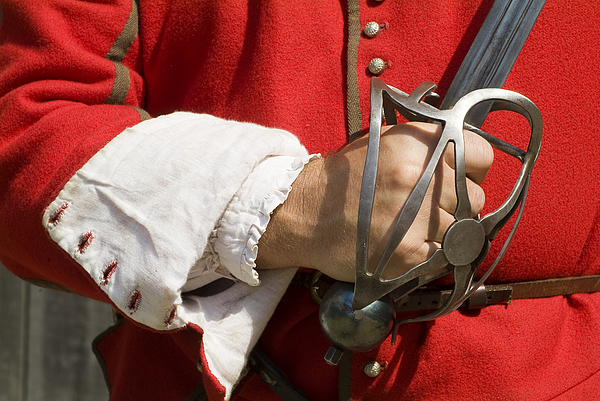 soldier holding sword in Jamestown Settlement Photograph by Richard Nowitz