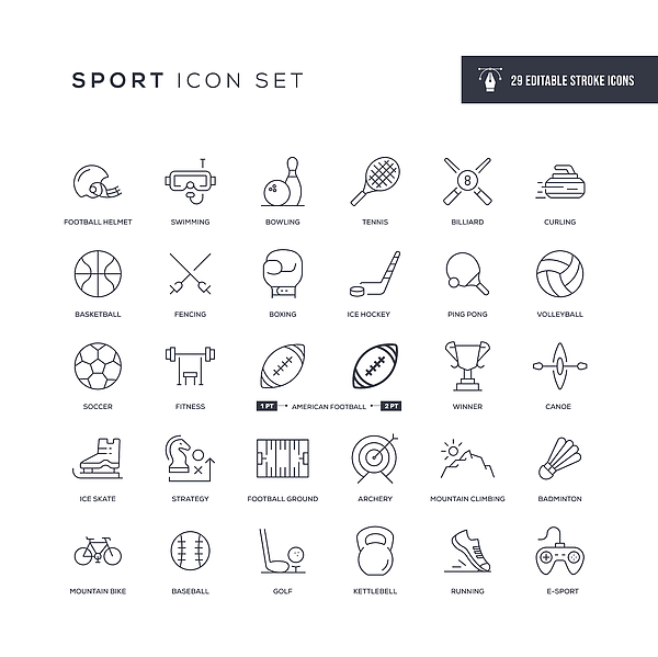 Sport Editable Stroke Line Icons Drawing by Enis Aksoy