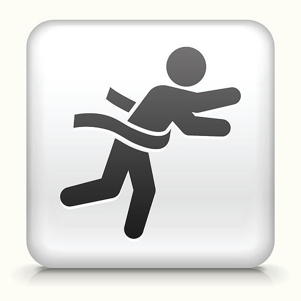 Square Button With Running To Finish Line Drawing by Bubaone