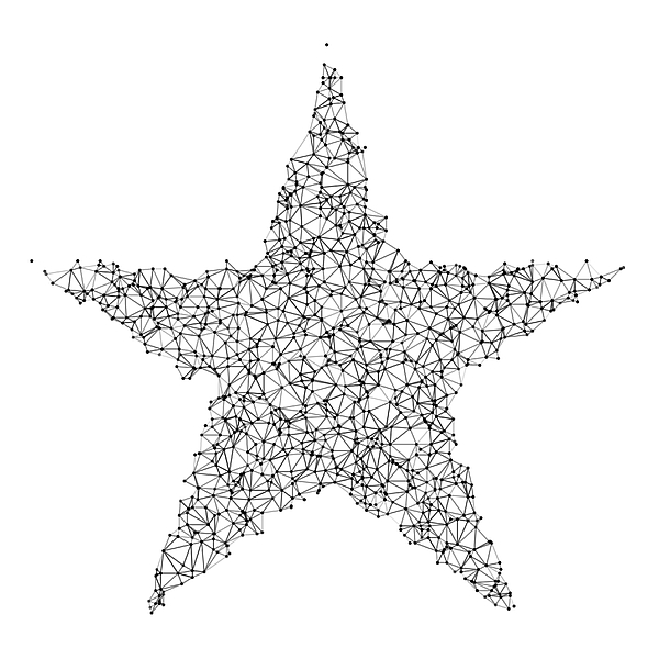 Star Network Black And White Drawing by FrankRamspott