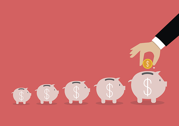 Step of business hand insert coin into the piggy bank Drawing by Siraanamwong