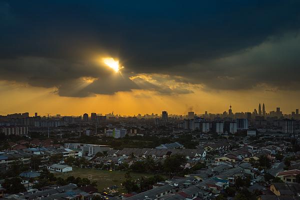 Stormy And Rainy Sunset In Downtown Kuala Lumpur Photograph by Shaifulzamri