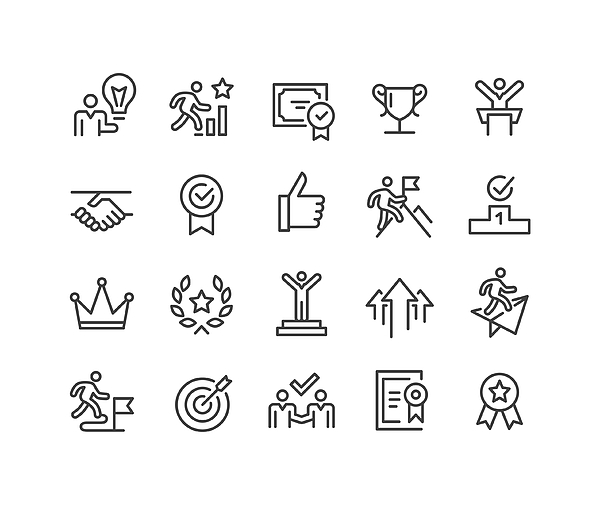 Success and Motivation Icons - Classic Line Series Drawing by -victor-