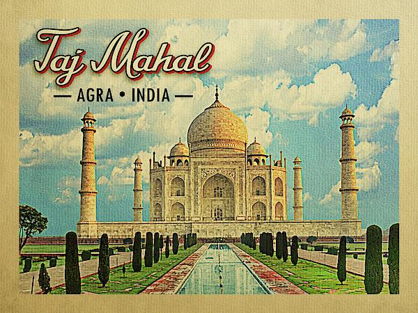 Taj Mahal Digital Art - Taj Mahal Vintage Travel by Flo Karp