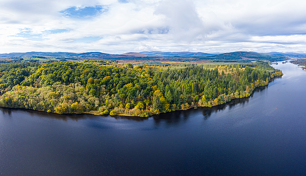 The aerial view of a slow moving river in rural Dumfries and Galloway south west Scotland Photograph by JohnFScott