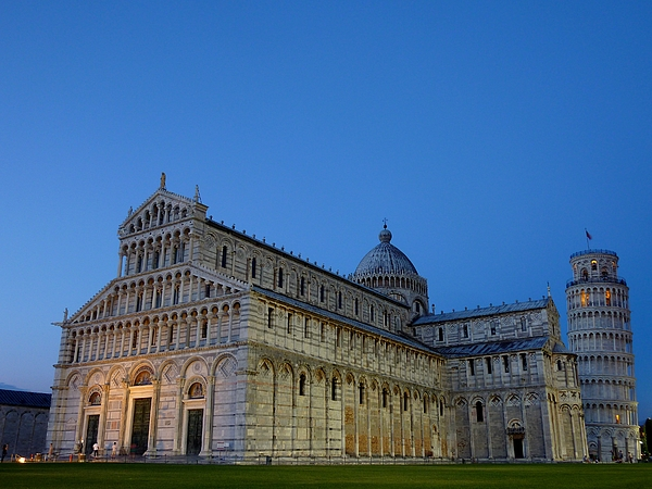 The cathedral  and the leaning tower in Pisa Photograph by Frans Sellies