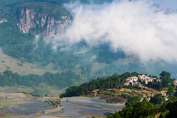 The Cloud Sea And The Terraced Fields And Village Photograph by Zhouyousifang