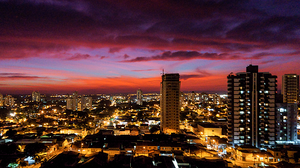 The colors of winter in a magnificent sunset over the city. Photograph by CRMacedonio