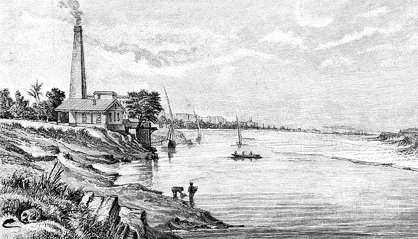 The Pumping Station Of Schubra Near Cairo Drawing by Clu