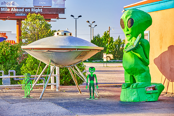 The Town Of Roswell, Famous For Location Of Controversial Ufo Crash In 1947, New Mexico, Usa Photograph by Peter Unger