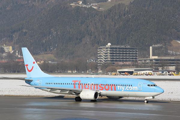 Thomson Fly Boeing 737 passenger jet in Innsbruck Photograph by Pejft