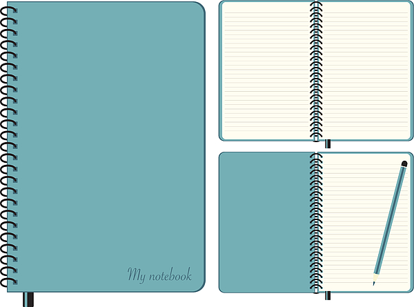 Three images of the same blue notebook Drawing by Rustemgurler