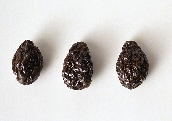 Three Prunes Against White Background, Close-up Photograph by Isabelle Rozenbaum & Frederic Cirou