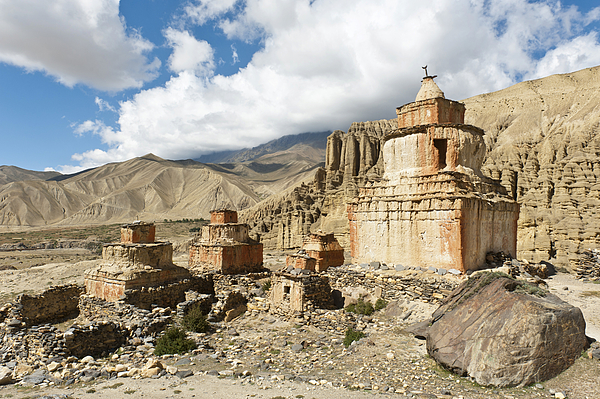 Tibetan Buddhism, weathered stupa in eroded landscape, Ghami, Upper Mustang, Nepal Photograph by Stefan Auth