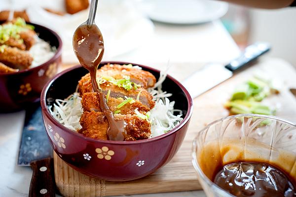 Tonkatsu with noodles and sauce in bowl, Japan Photograph by stéphane  Bureau du Colombier