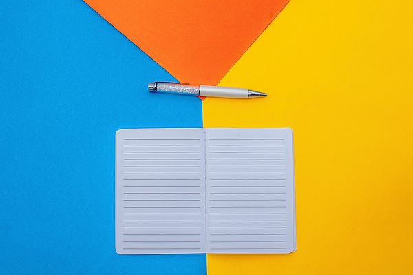Top View Open Blank Notebook And Pen Photograph by Carol Yepes