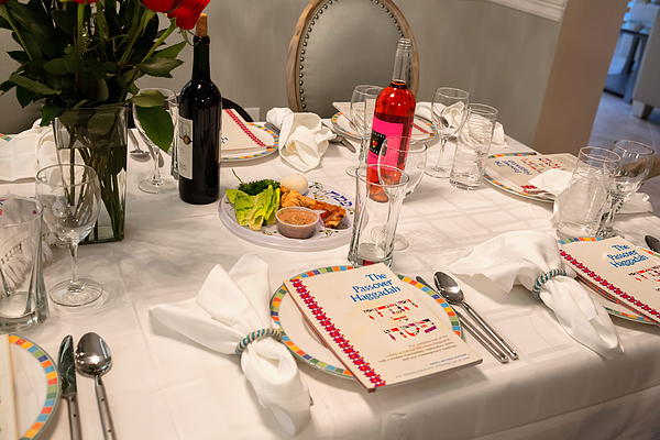 Traditional Passover Seder Table with Haggadah Photograph by JodiJacobson