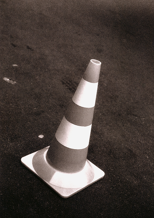Traffic Cone, B&w. Photograph by Laurent Hamels