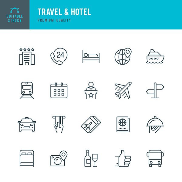 Travel & Hotel - set of thin line vector icons Drawing by Fonikum
